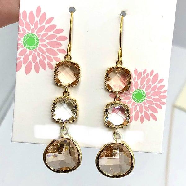 LAALEE - Blush Champange Crystal Earrings