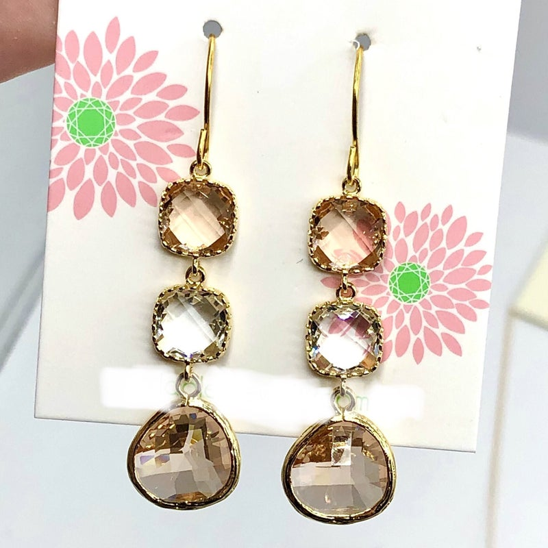 LAALEE - Blush Champange Crystal Earrings