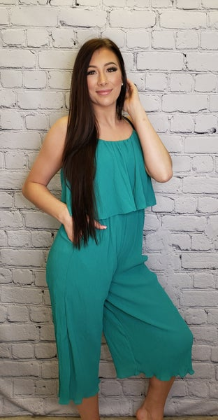 Main Strip - Front ruffle top pocket winkled fabric jumpsuit