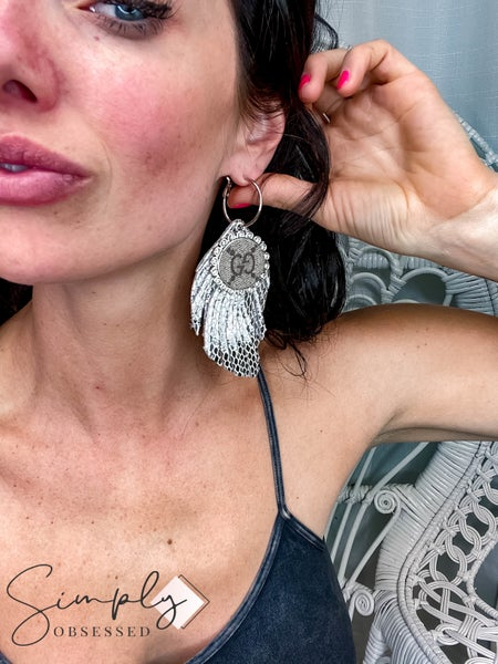UpCycled - Silver Metallic Feather Hoops
