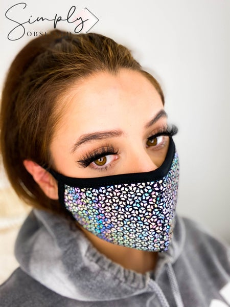 Paper Moon - Glitter sequin detail face mask