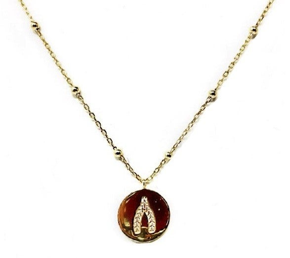 Gold CZ Wishbone Concave Disc Necklace