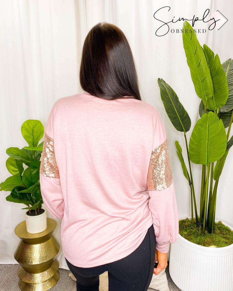Vine & Love - Colorblock Sequin Detail Long Sleeve Top
