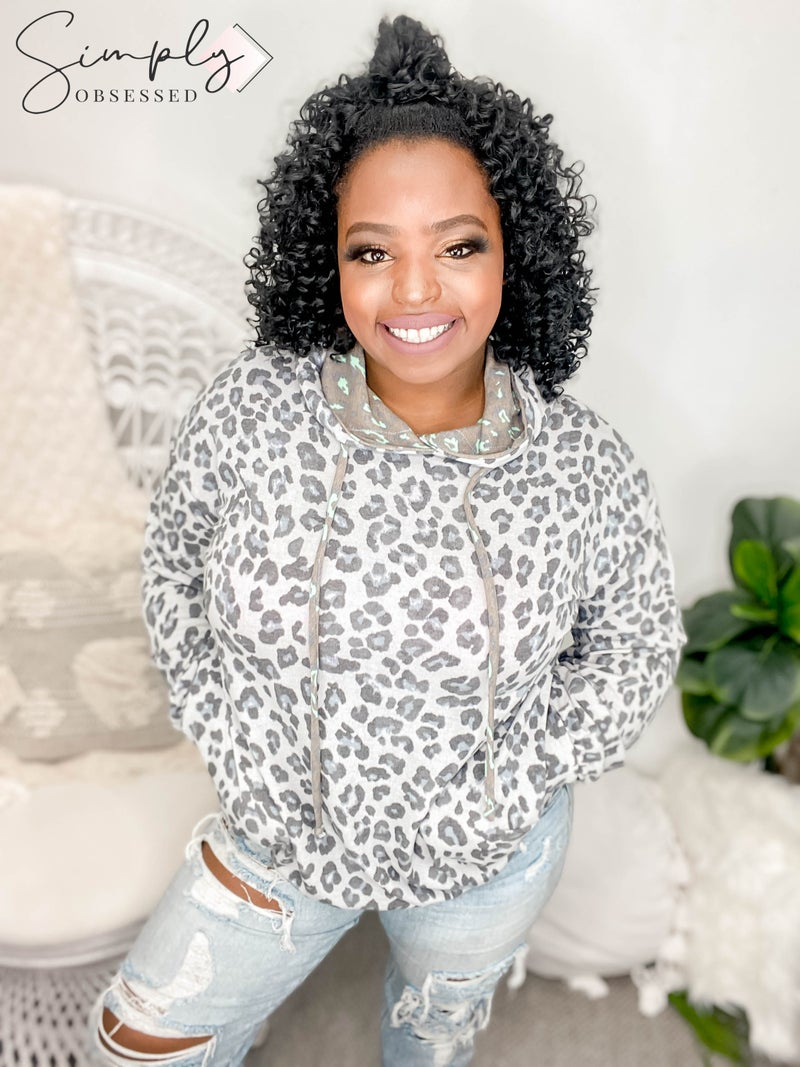 White Birch - Long sleeve leopard print top with contrast hood (all sizes)