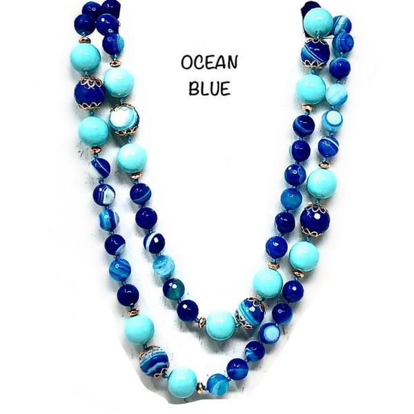 Long Ocean Blue Beaded Scalloped Embellishment Necklace