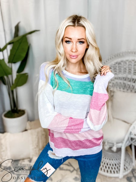 Hem & Thread - Multi Stripe Light Weight Sweater