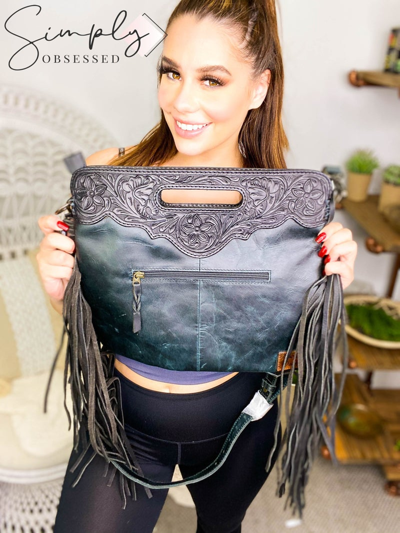 American Darling - Handcrafted Leather Handbag with Fringe and Cheetah Detail