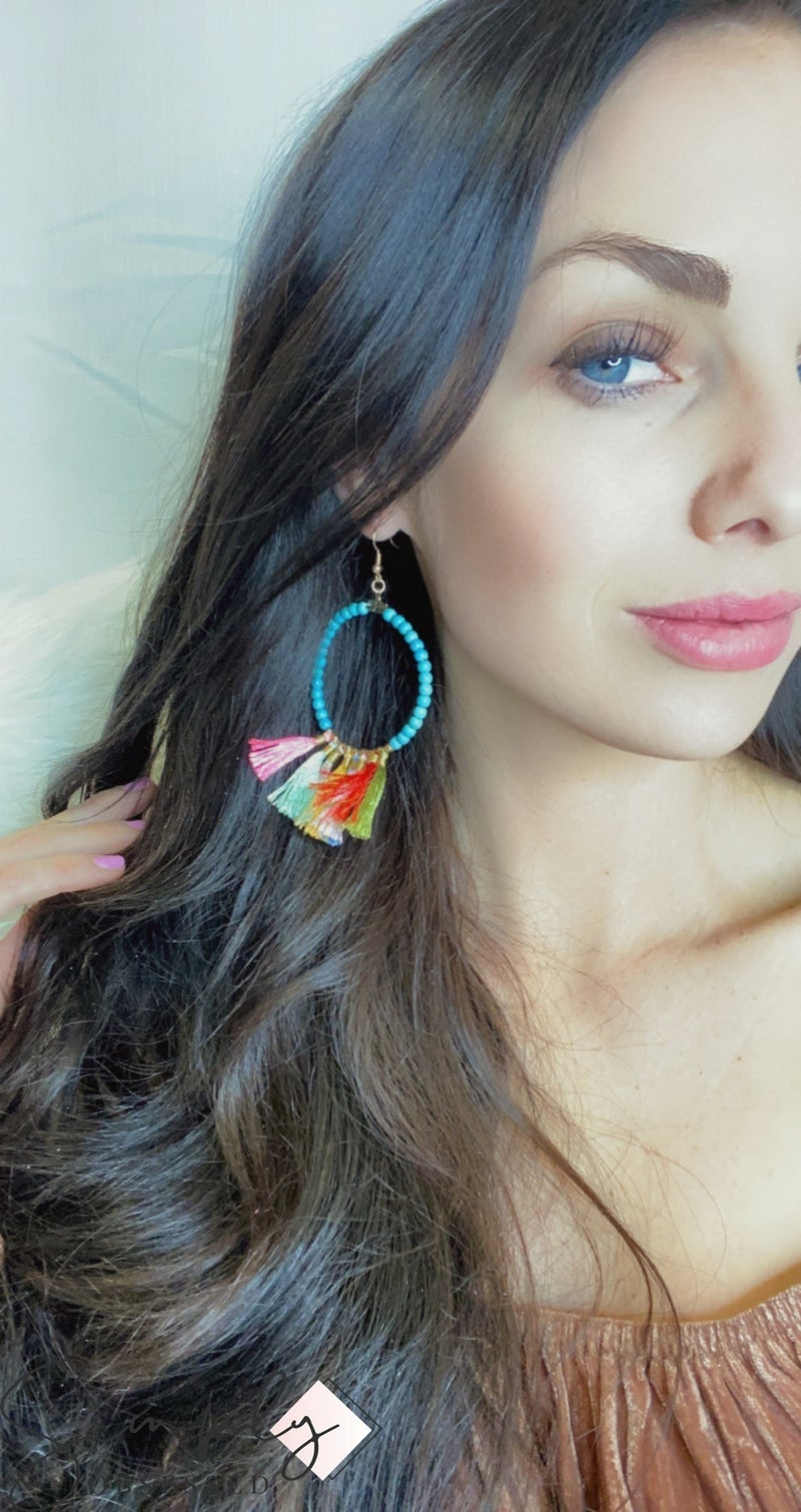 FAIRE - Beaded Turquoise Gold Hoop with Colorful Tassel Fringe