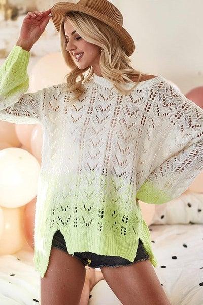 Bibi - Low gauge two tone sweater top