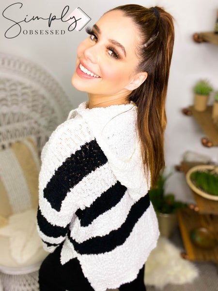 Adora - Long sleeve hooded popcorn knit striped sweater