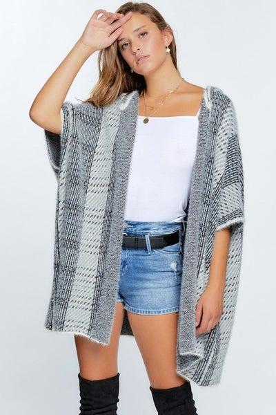 Davi & Dani - 3/4 Sleeve loose fit print hooded cardigan sweater (all sizes)