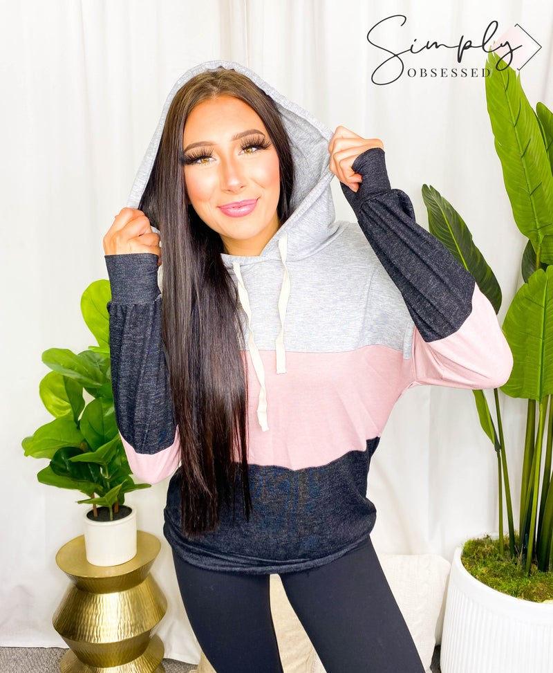 Grateful Hearts - Long sleeve color block hooded sweater