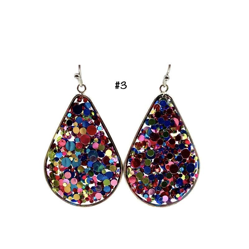 Silver Encased Confetti Teardrop Earrings