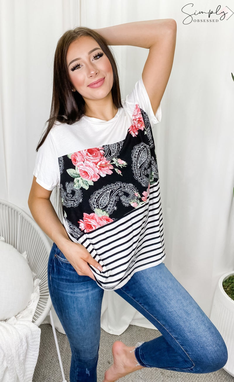 E.LUNA-SOLID STRIPE FLORAL PRINT MIXED SHORT SLEEVE ROUND NECK TOP