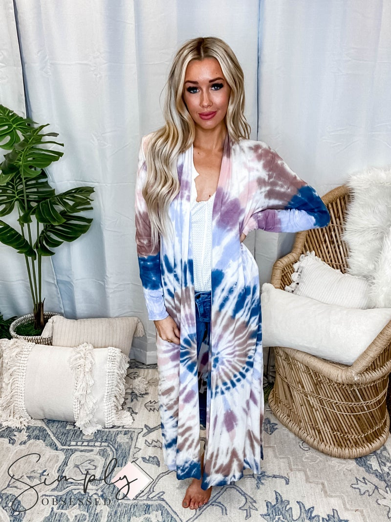 T-Party - Tie Dye Ribbed Side Slit Long Sleeve Cardigan