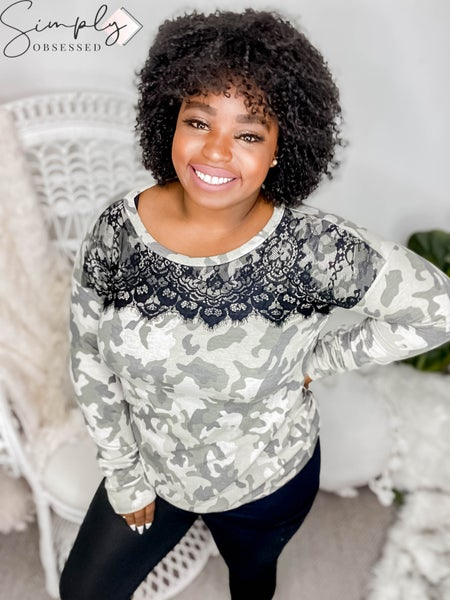 Vanilla Bay - Long Sleeve Camo Print Top with Scallop Edge Lace Trim at Front