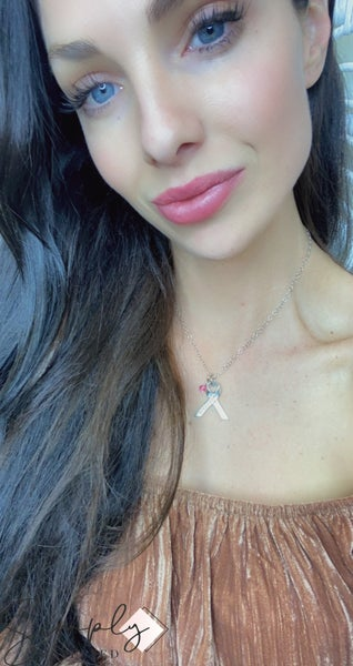 VJ - Cancer Awareness Ribbon Necklace