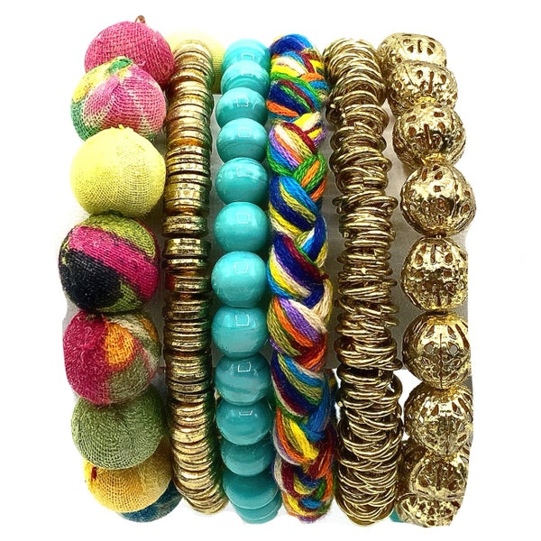 WORLD FINDS - Mixed Media Coiled Bracelet