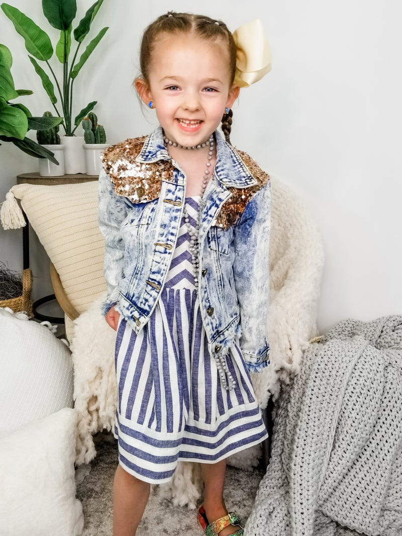 KIDS Lucky & Blessed - Denim jacket with sequin detail