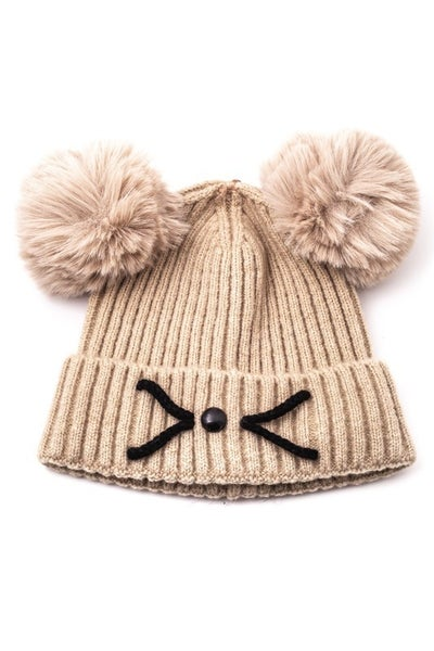 Fame Accessories - Double pom pom ribbed beanie