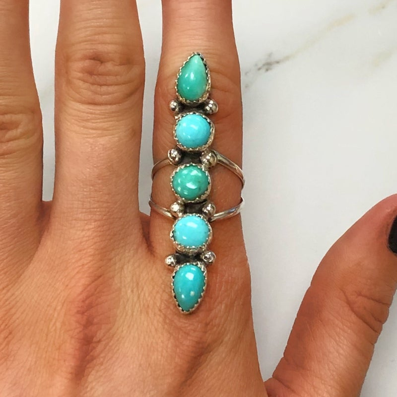 M&S Sterling Silver - 5 Stacker Turquoise Ring