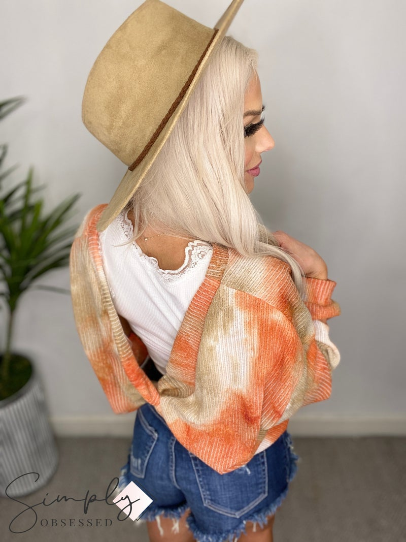 Peach Love California - Long sleeve tie dye rib knit sweater with twisted back detail