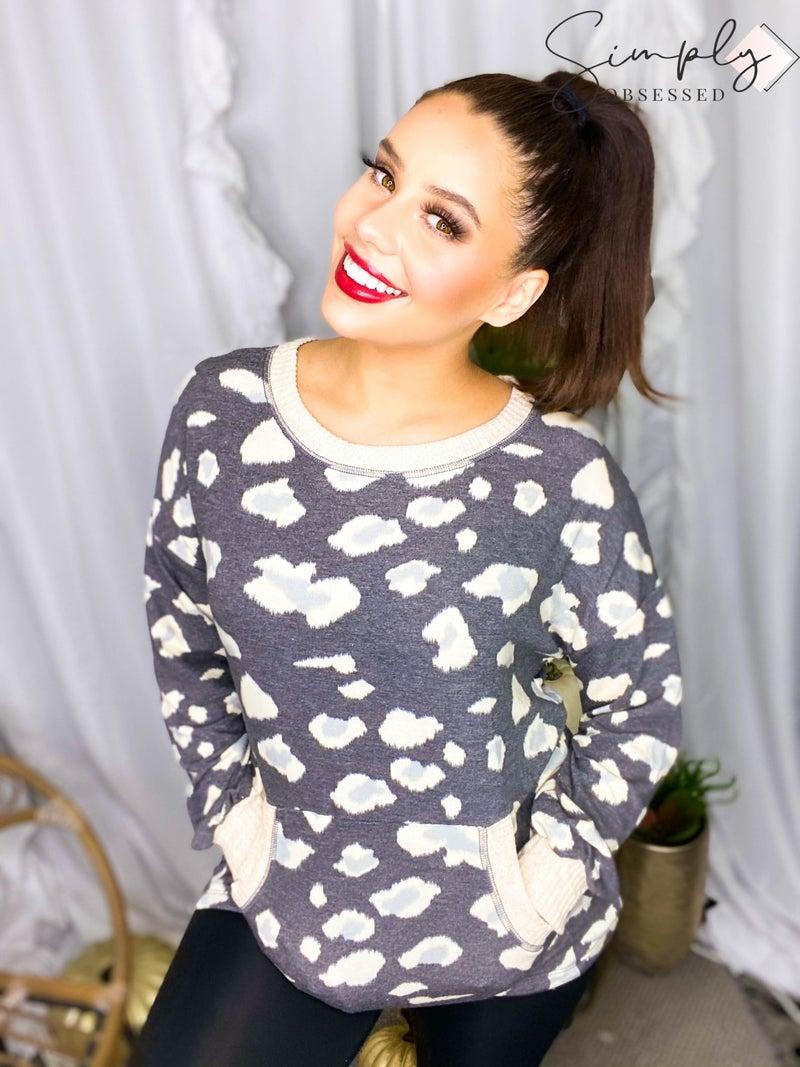 WHITE BIRCH-Long Sleeve Cheetah Print Knit Top