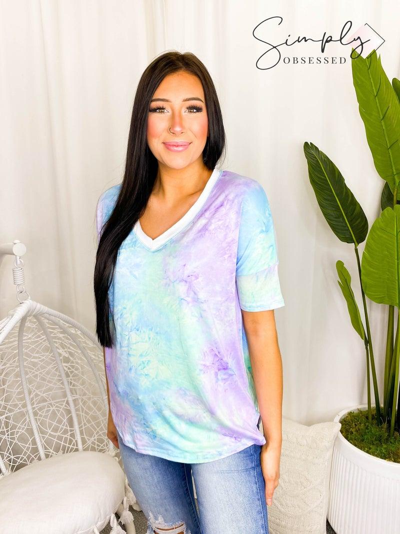 White Birch - Short sleeve tie dye v-neck