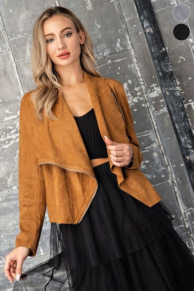 Eesome - Faux suede drape front zip up jacket