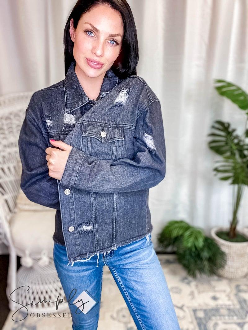 White Birch LA First Dibs - Distressed Trucker Denim Jacket