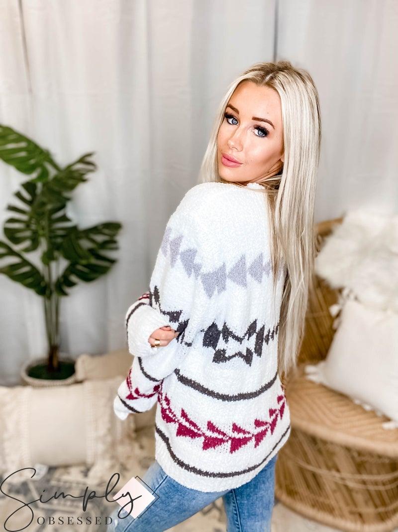 POL - Aztec Design Long Sleeve Sweater