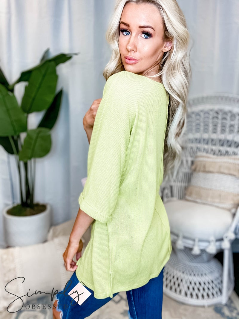 Vanilla Bay - Low gauge sweater top with boat neck 3/4 sleeves