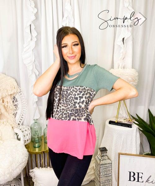 Vanilla Bay - Short sleeve animal print color block top with neckline strap