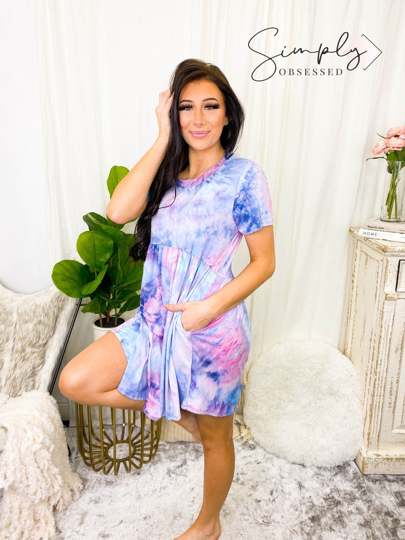Haptics - Tie dye short sleeve round neck dress with side pockets