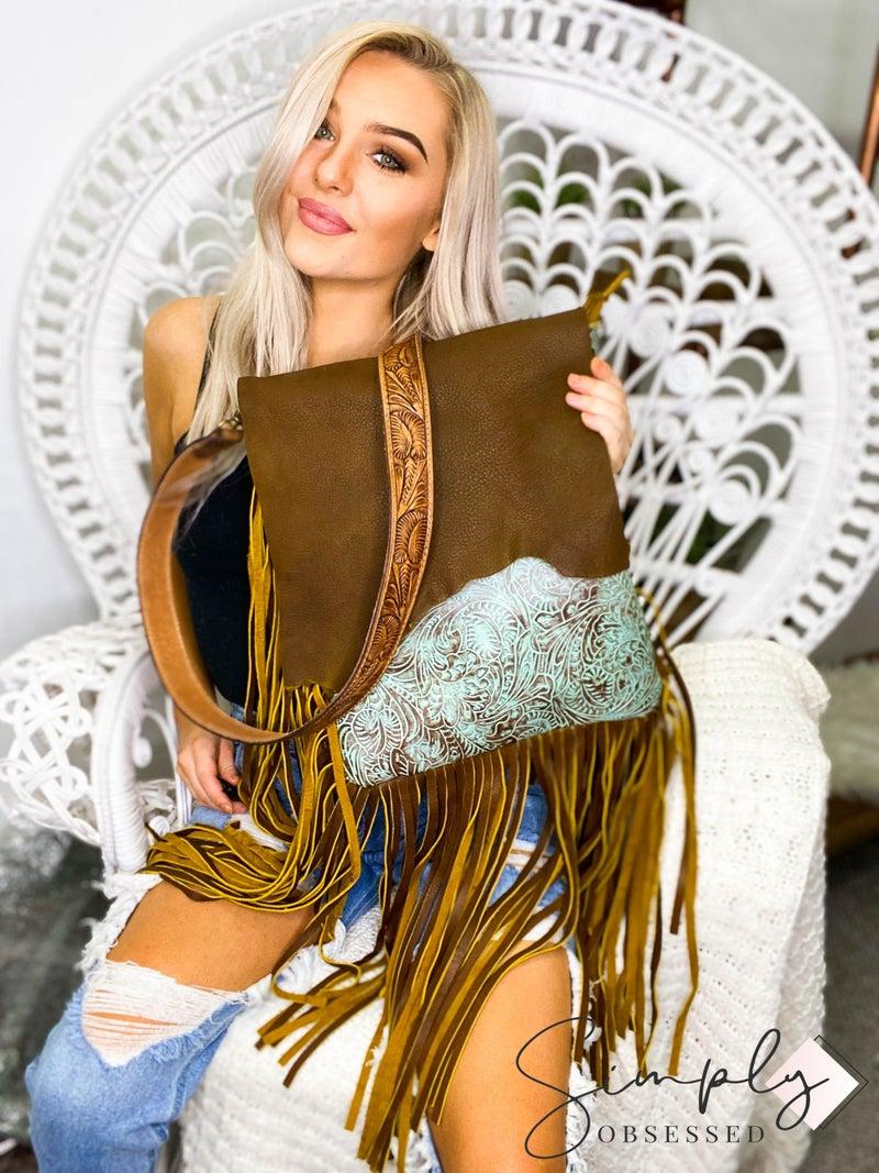 American Darling - Tassel detail genuine leather work front flap bag
