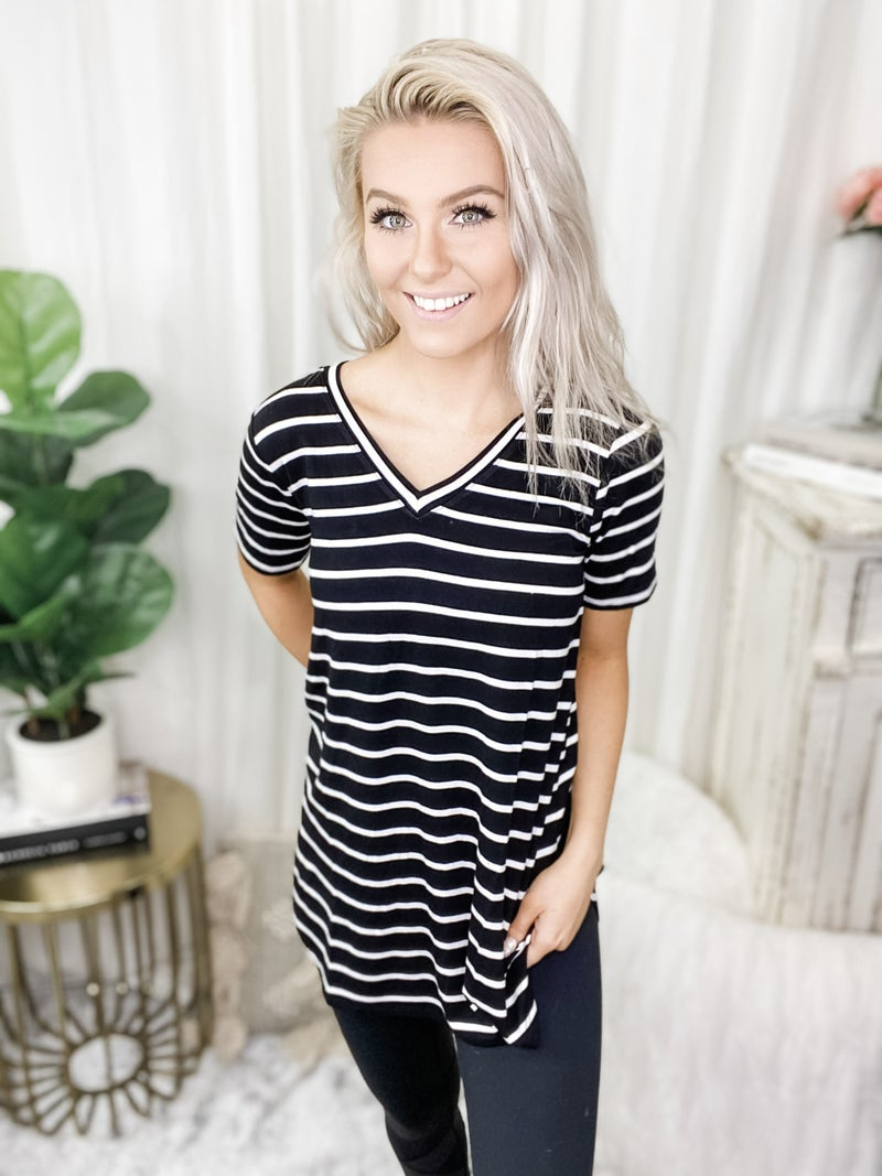 ZENANA-Stripe V Neck Short Sleeve Top