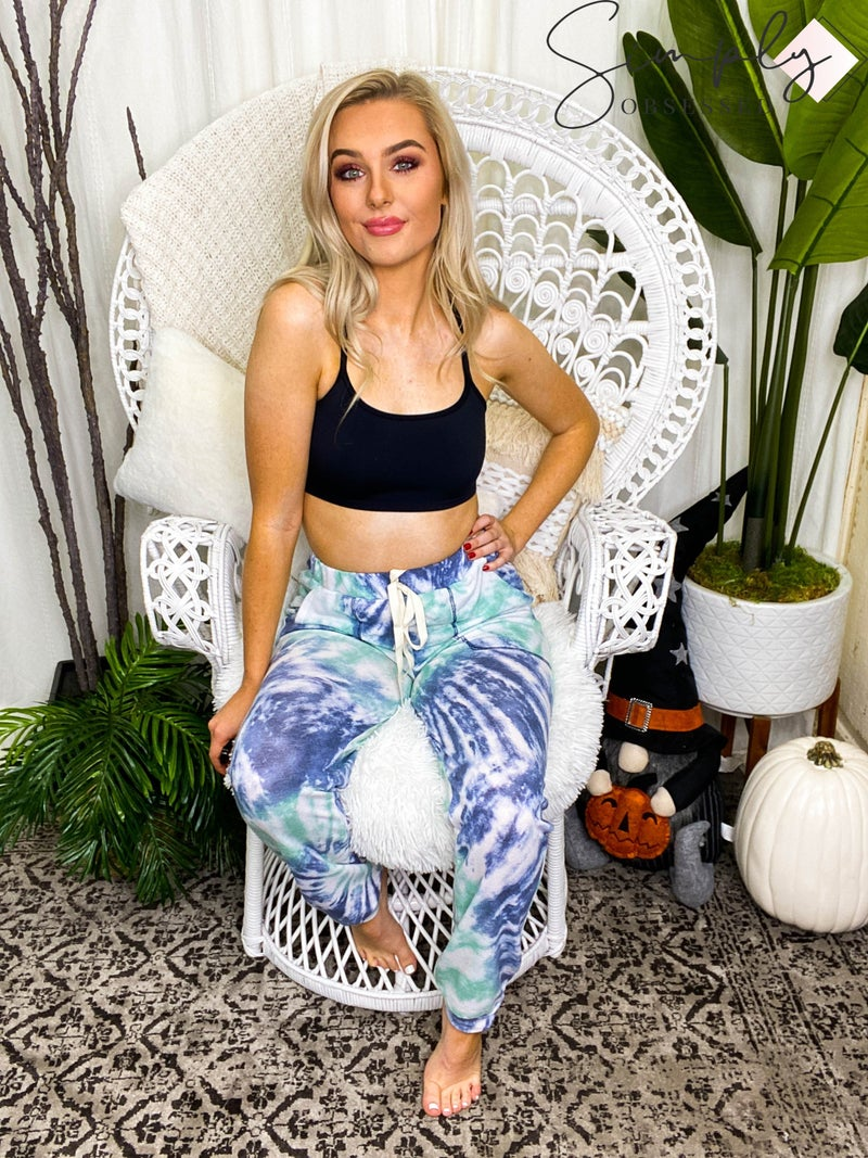 BiBi - Tie dye casual french terry sweat pants with contrast stitching