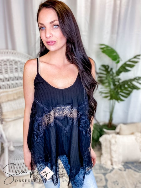 Pol - Woven Lace Tunic Top Featuring Lace Trim Detail