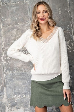 EE:Some -Lace Trim Off The Shoulder Sweater