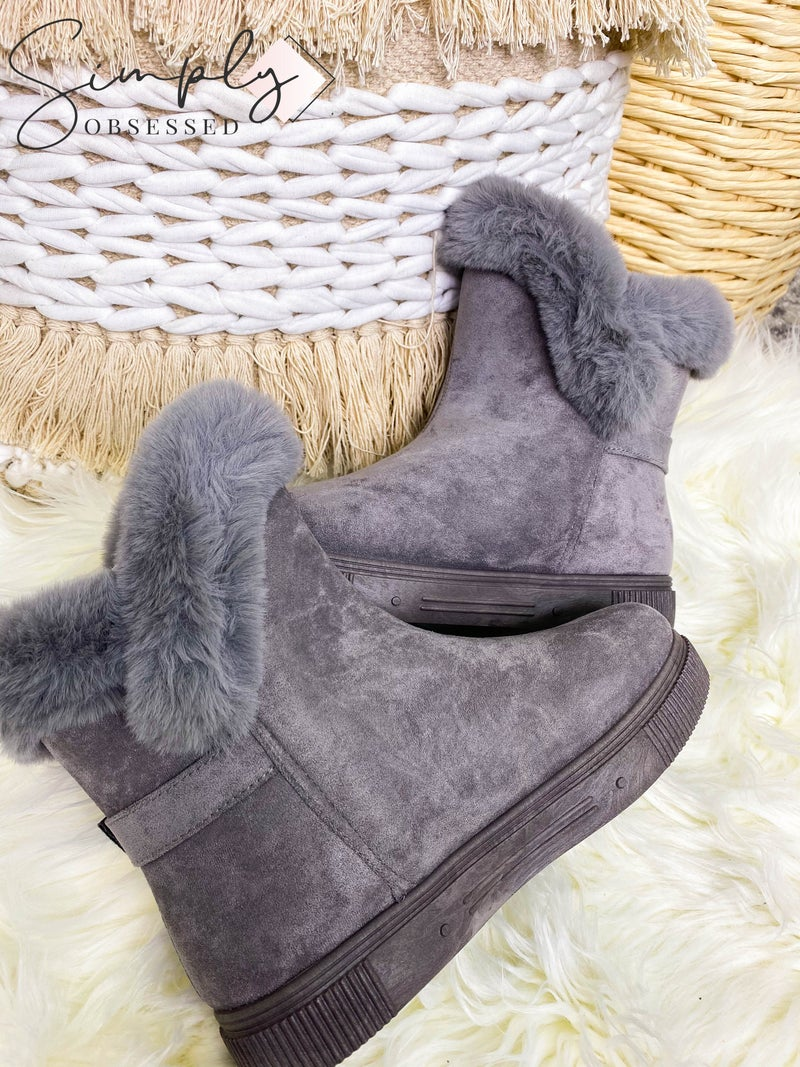 Bamboo - Fur trim short winter boots