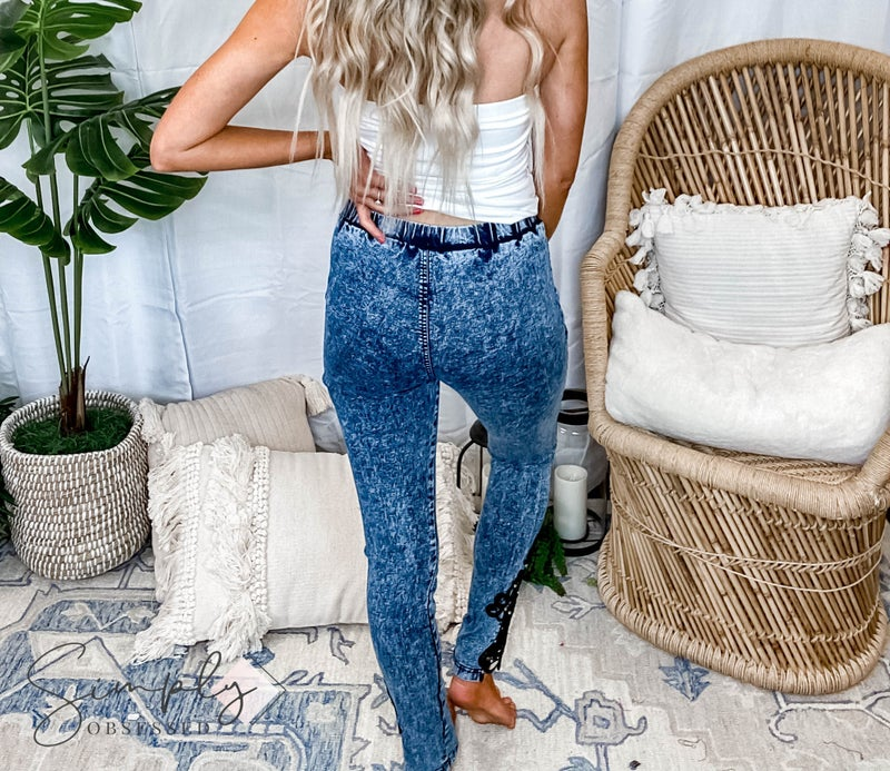 Vocal First Dibs LA - Black Jean Leggings w/ Lace and Stone Detail