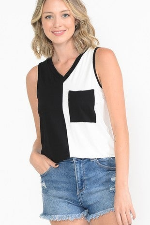 Haute Apparel - Sleeveless color block v-neck top with pocket