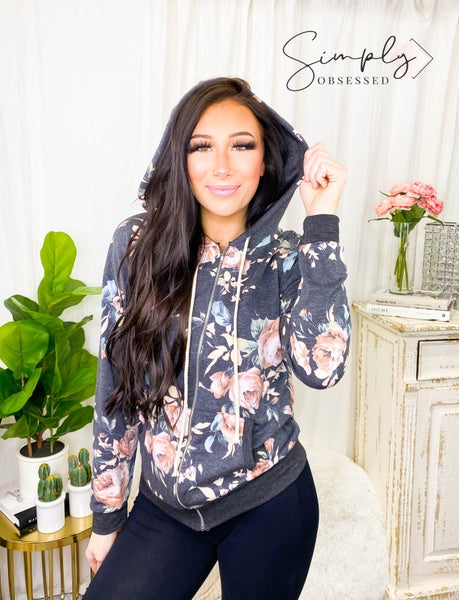 7th Ray - Long sleeve floral zip up hoodie