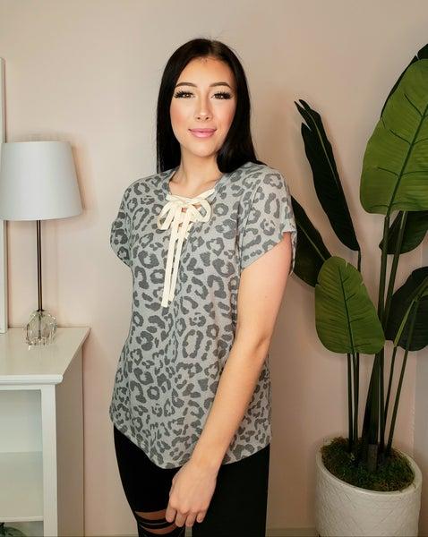Fantastic Fawn - Animal print short sleeve knit top with drawstring detail