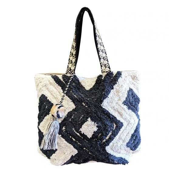 Chloe & Lex - Black and White Zig Zag Tote Bag