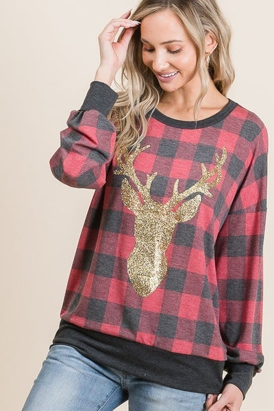 Vanilla Bay - Plaid Print Long Sleeve Knit Top With Glittered Reindeer Print