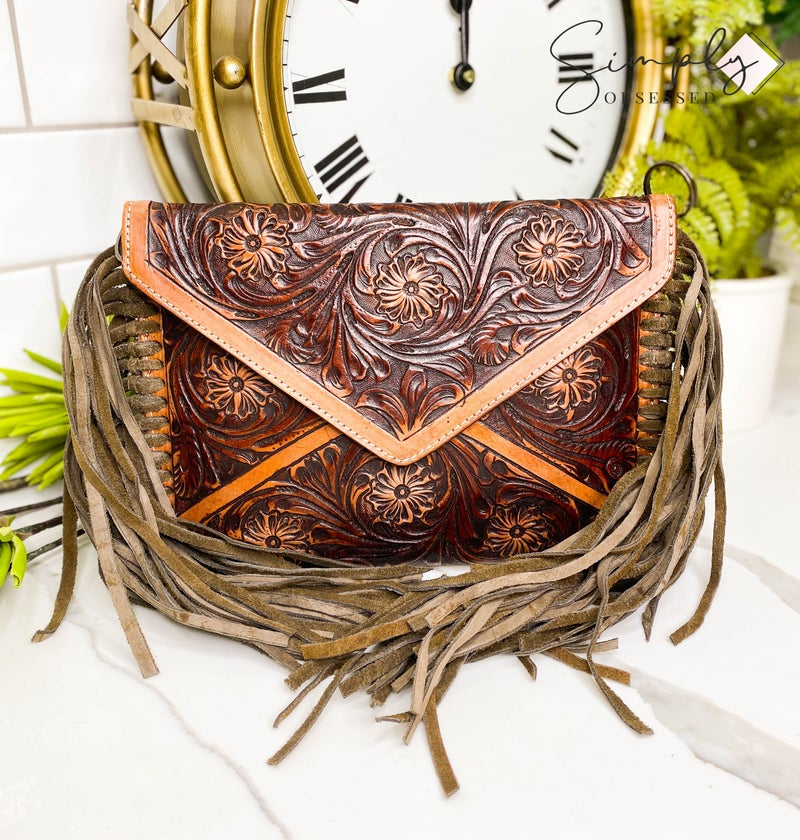 American Darling - Tassel detail hand crafted leather work bag