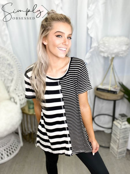 Sew in Love - Short Sleeve Striped Top (plus)