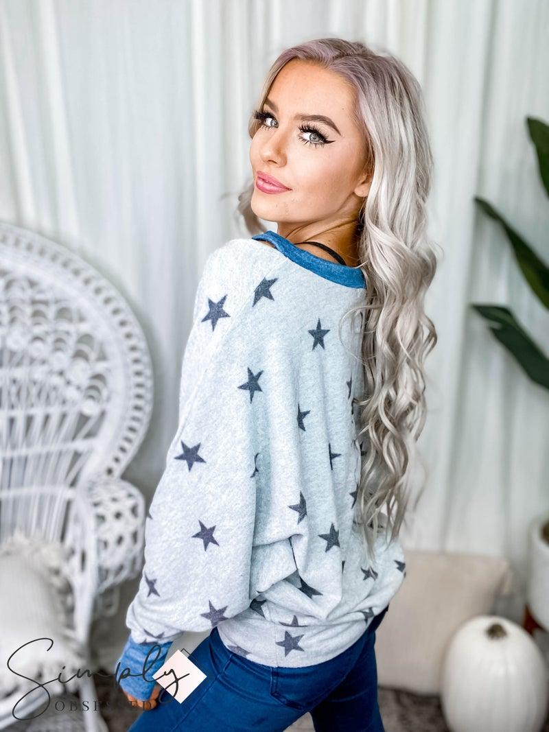White Birch - Long Sleeve Star Print Knit Top
