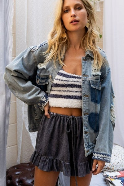 Pol - Distressed denim jacket